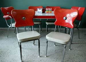 Vintage 1950s red kitchen diner table set with 6 chairs for Furniture for kitchen diner