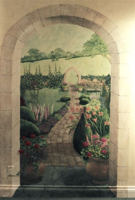 handmade english garden mural  pompeii artisans