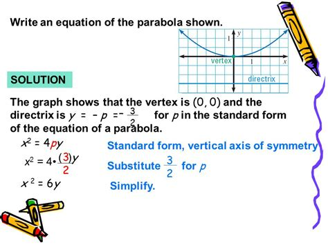 find standard form equation parabola write the standard form of equation parabola whose