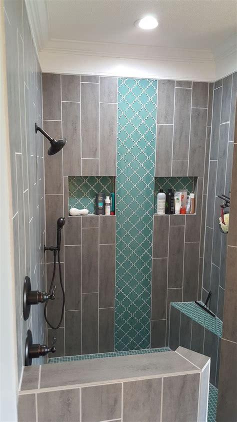 Grey Wood Tile Bathroom by Teal Arabesque Tile Accent Teal Shower Floor Grey Wood