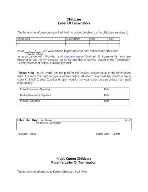 daycare termination letter   payment