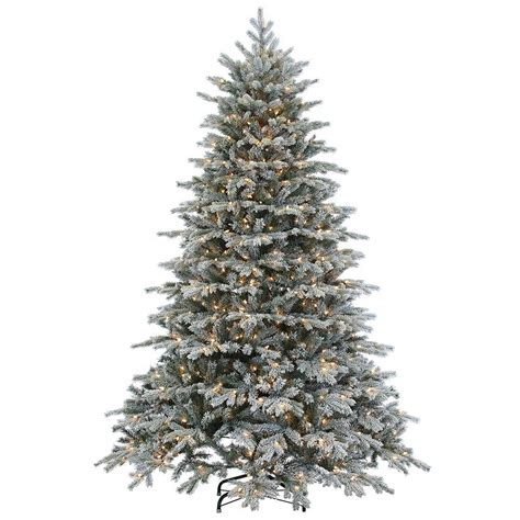 sterling nine foot flocked led trees sterling 7 5 ft pre lit cut flocked vermont spruce artificial tree with clear