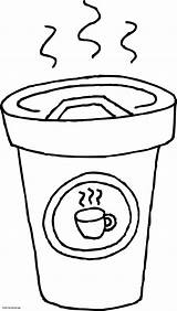 Coffee Coloring Cup Printable Drawing Clipart Latte Mug Cliparts Clip Colour Getcolorings Getdrawings Library sketch template