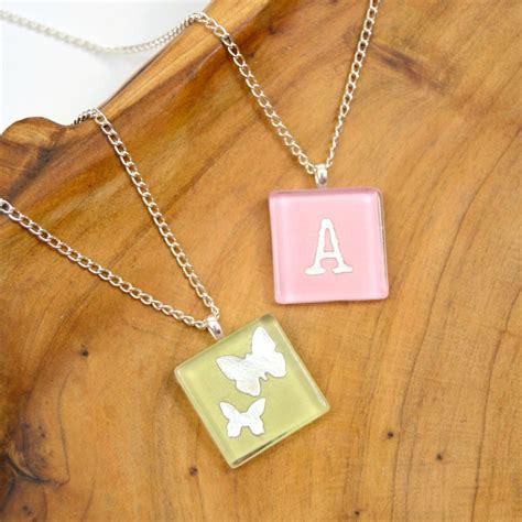 diy glass tile necklaces  scrapbook paper happy hour