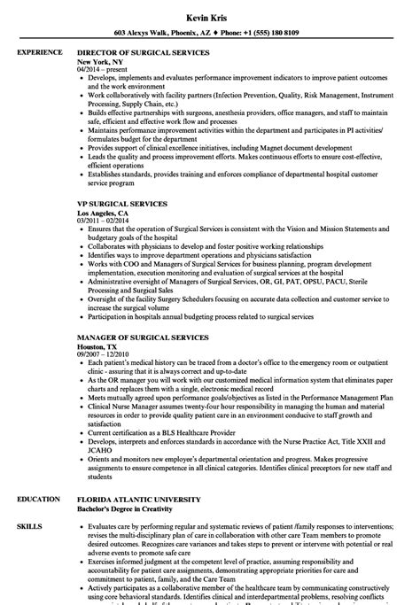 Surgical Resume by Surgical Services Resume Sles Velvet