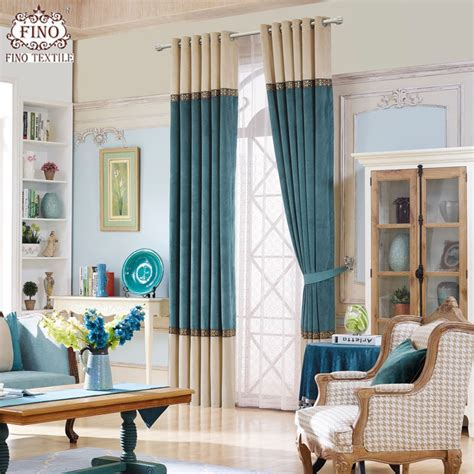 modern solid window curtains  living room teal curtain