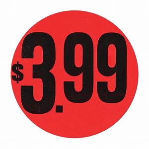 Red  1 99 Large Price Point Price Tag Labels Black Imprint  2 U0026quot Dia