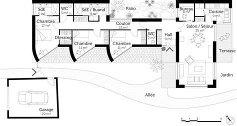 cuisine faible profondeur plan maison d 39 architecte de plain pied ooreka