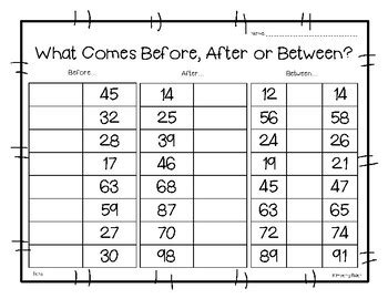 before after or between math number sense worksheet by 4 little baers