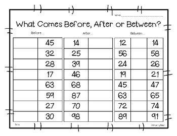 before after or between math number sense worksheet by 4 394 | original 3652836 1