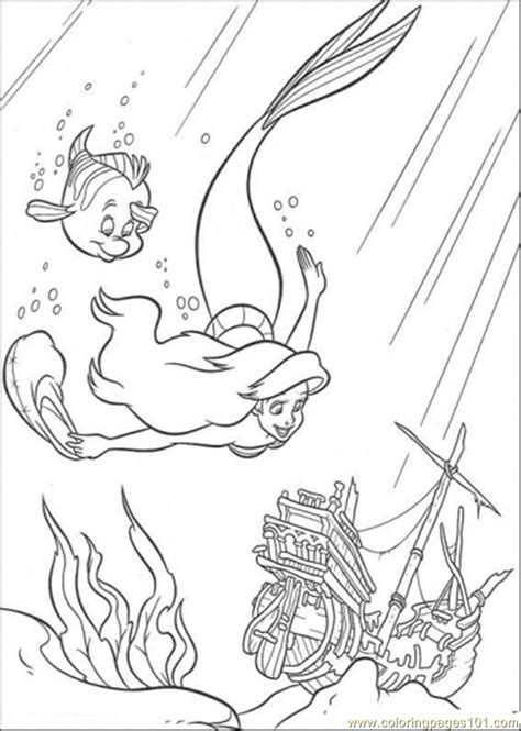 ariel  flounder  swimming  coloring page    mermaid coloring pages