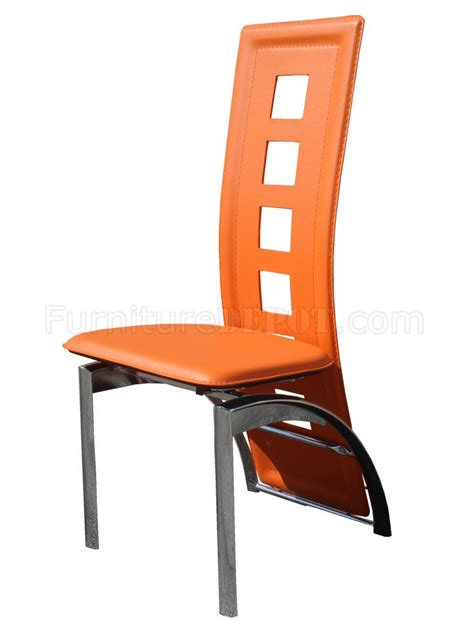 set of 4 orange bicast contemporary dining chairs w chrome