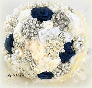 Brooch Bouquet Navy Blue Ivory Cream White Wedding