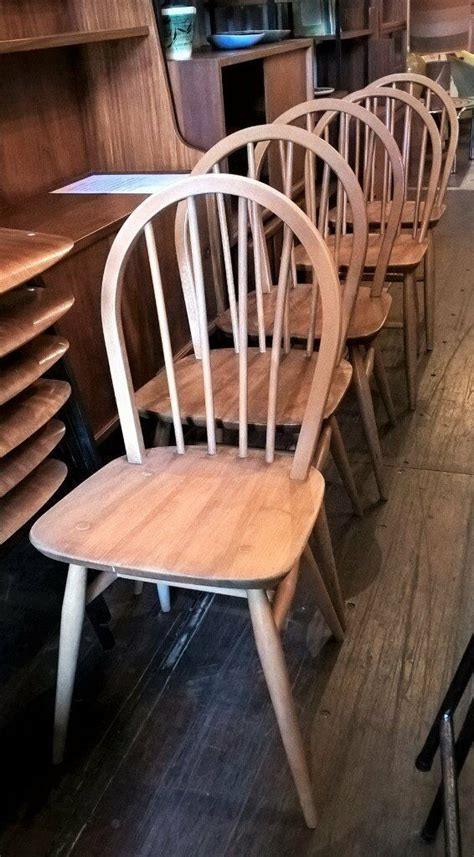 4 Blonde Ercol Hoop Back Dining Chairs   Price per chair