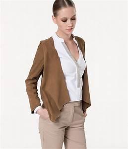 veste en daim devernois en camel pour femme galeries With veste à carreaux femme