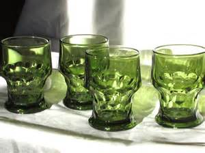 Anchor Hocking Green Drinking Glasses