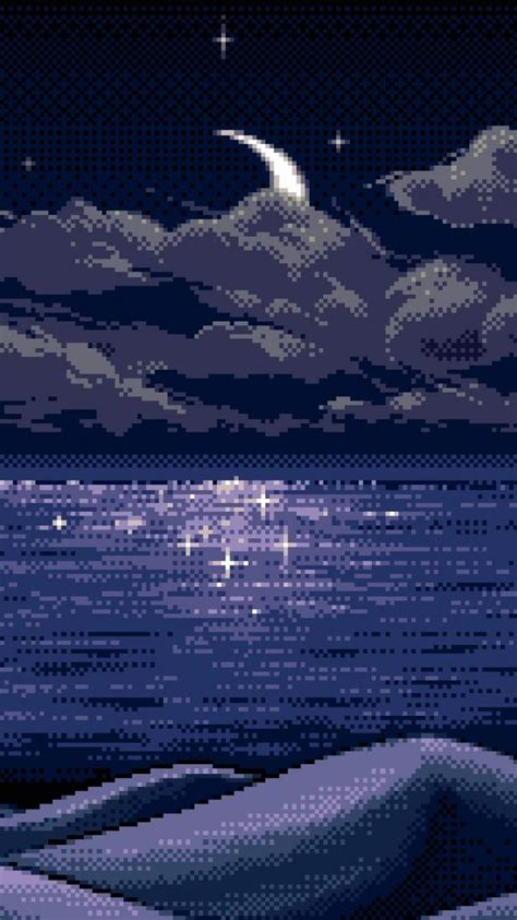 clouds night moon pixel art lakes wallpaper