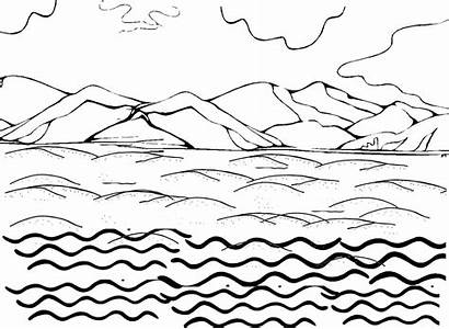Land Coloring Water Pages Sky Ocean Waves