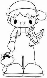 Coloring Slingshot Boy Digi sketch template