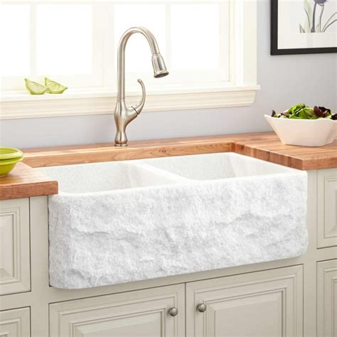 white double bowl farmhouse sink 33 quot polished marble double bowl farmhouse sink chiseled