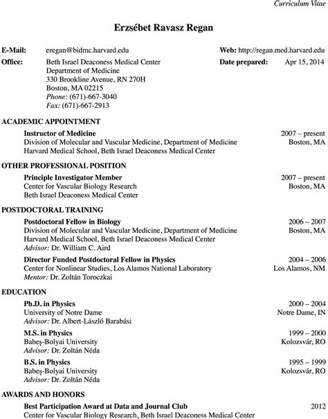 Med School Student Resume by Erzs 233 Bet Ravasz Regan