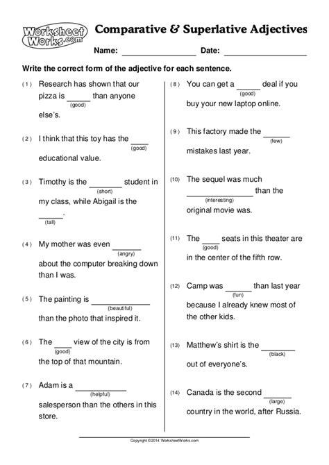 worksheet works comparative superlative adjectives 1