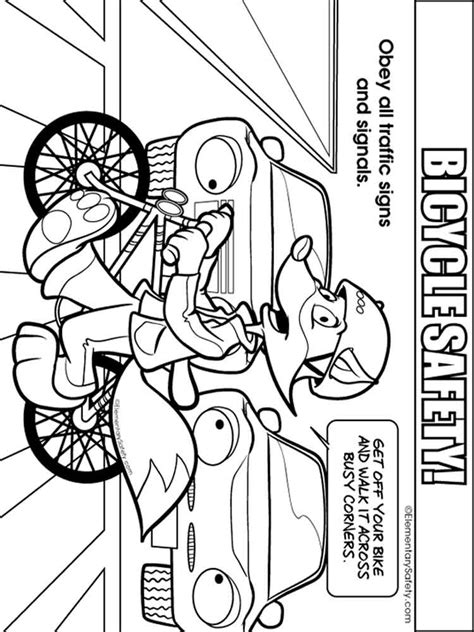 bicycle safety coloring pages  printable bicycle