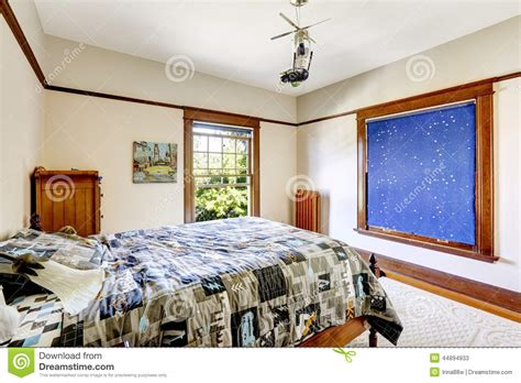 bedroom with sky blue curtain stock photo image 44894933