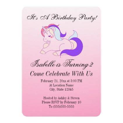 pink ombre rainbow unicorn girls birthday party card