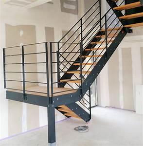 escalier exterieur quart tournant fashion designs With escalier metallique exterieur leroy merlin 2 escalier droit escatwin structure aluminium marche verre