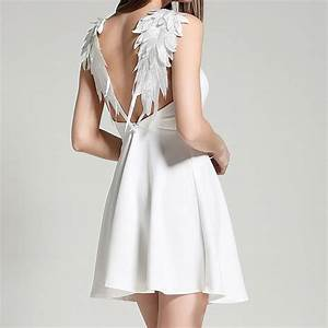 2017 women fashion backless Angel's wings sexy dress white ...