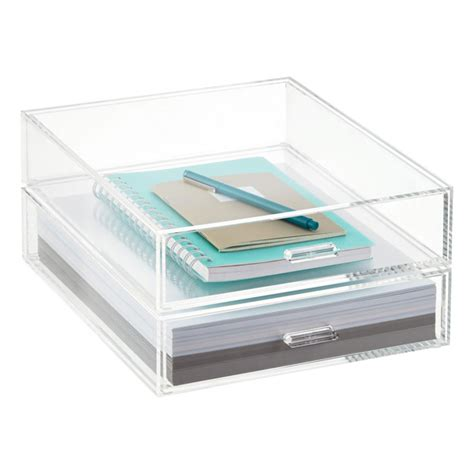 Desk Drawer Organizer For Paper by Portait Acrylic Paper Drawer The Container Store