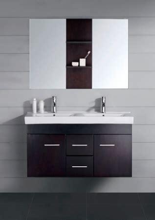 small modern double sink bathroom vanity  mirror