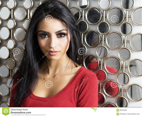 Beautiful Woman With Exotic Features And Long Dark Hair Stock Image Image Of Background