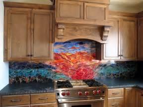 Mosaic Glass Backsplash Kitchen Glass Mosaic Sunset Mural Designer Glass Mosaics Designer Glass Mosaics