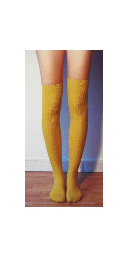 Socks Knee Thigh Yellow Boots Fishnet Sock