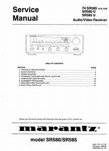 Marantz Sr585 Sr580 Audio Video Receiver Service And