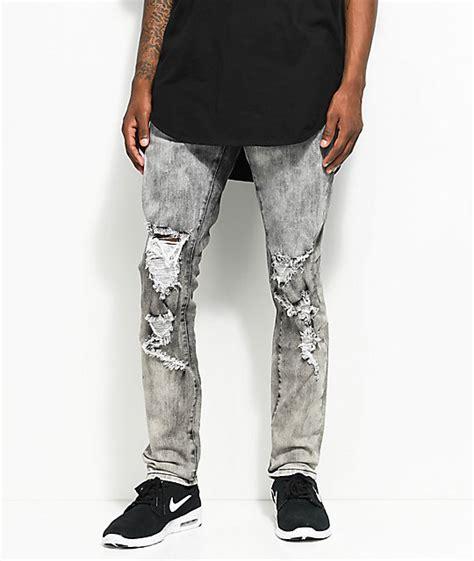crysp denim joyner distressed washed grey jeans zumiez