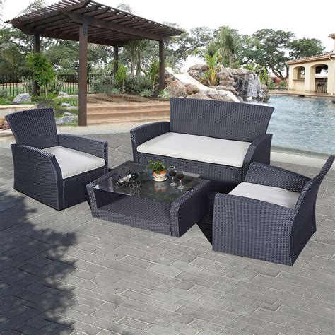 outdoor wicker sectional sofa set goplus 4pcs outdoor patio furniture set wicker garden lawn