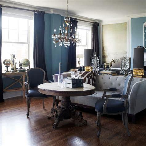 blue room  gold accents design decor