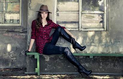 Boots Background Pose Hat Bench Feet Cowboy