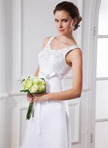 forme princesse col rond longueur mollet satine organza With robe de mariée longueur mollet