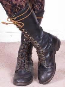 womens boots vintage vintage knee high distressed black leather lace