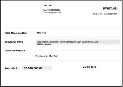 soal format kwitansi pembayaran dan cara membuatnya paper id