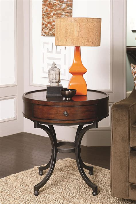 how to decorate end tables round end table with 1 drawer by hammary wolf and