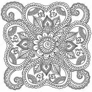 Disegni da colorare per adulti Henna Mehndi Doodles gli elementi floreali astratti Vettoriali