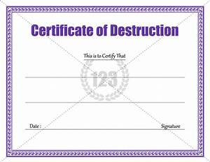 Download certificate of destruction template 123certificatetemplates certificate template for Free certificate of destruction template