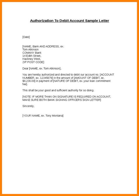authorization letter  bank templates