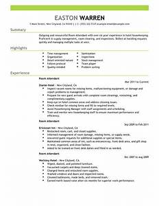 best room attendant resume example livecareer With hotel resume