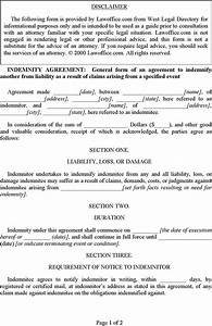indemnity agreement template free download speedy template With indemnity waiver template